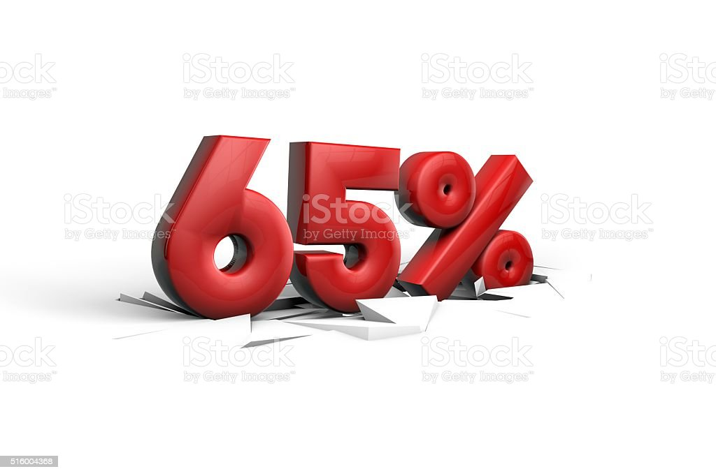 Sixty five Percent sign breaking through a white floor stock photo