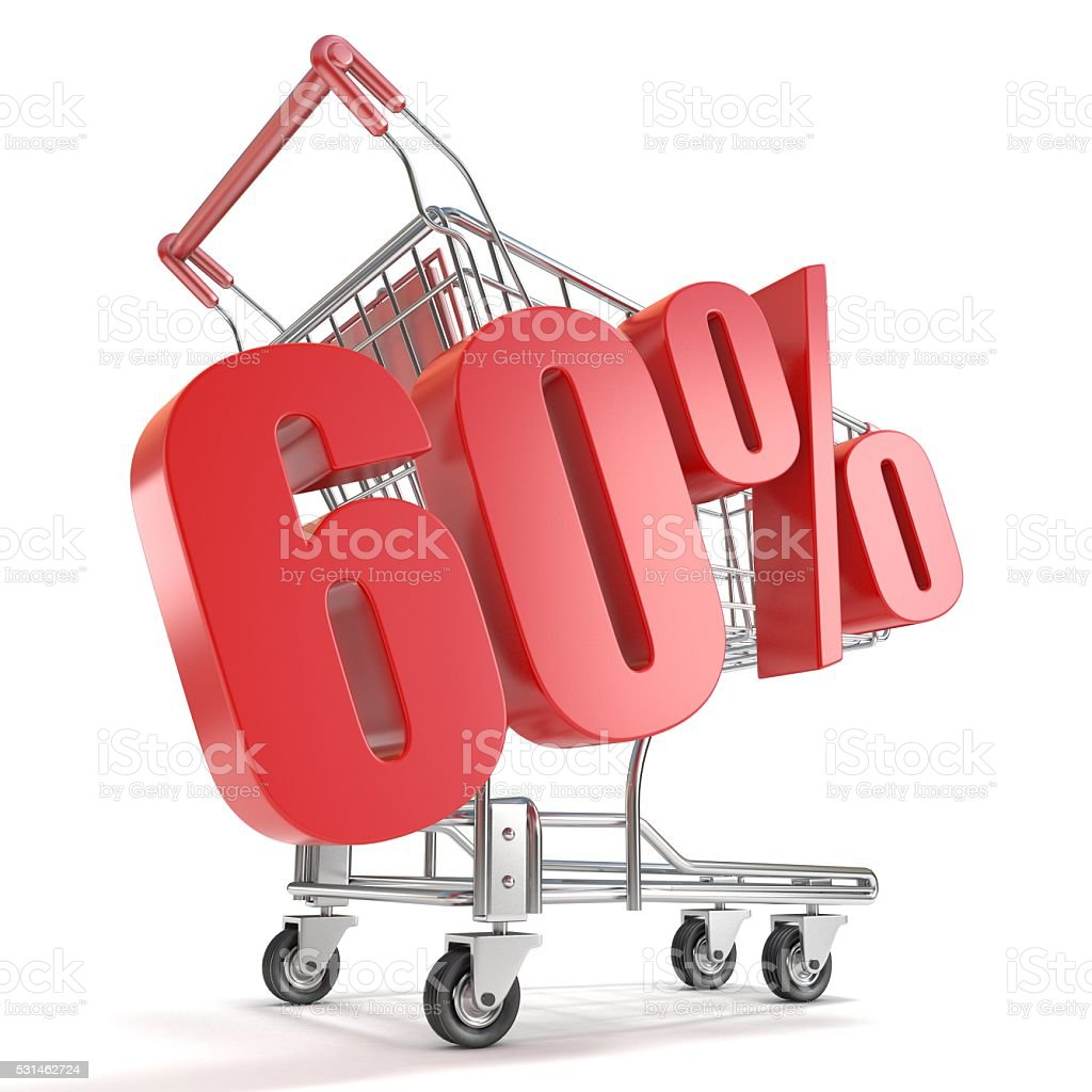 60% - sixty percent discount in front of shopping cart stock photo