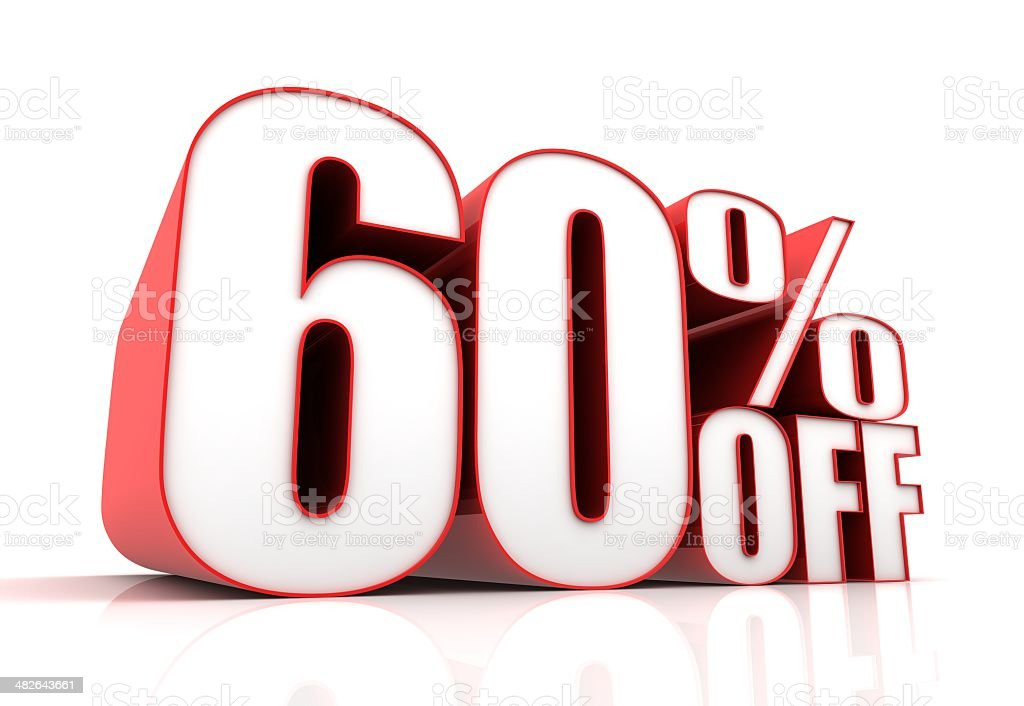 sixty percent off sale stock photo