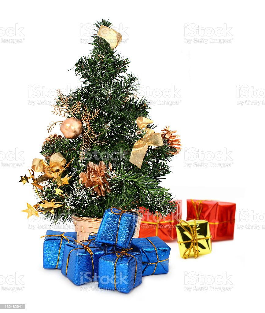 XL size christmas tree and gifts royalty-free stock photo