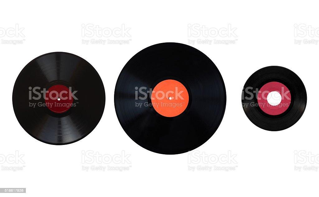 Size comparison of recording media stock photo