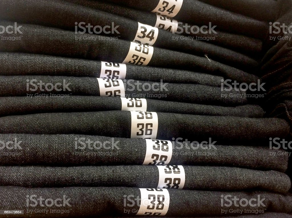 Size on jean. stock photo