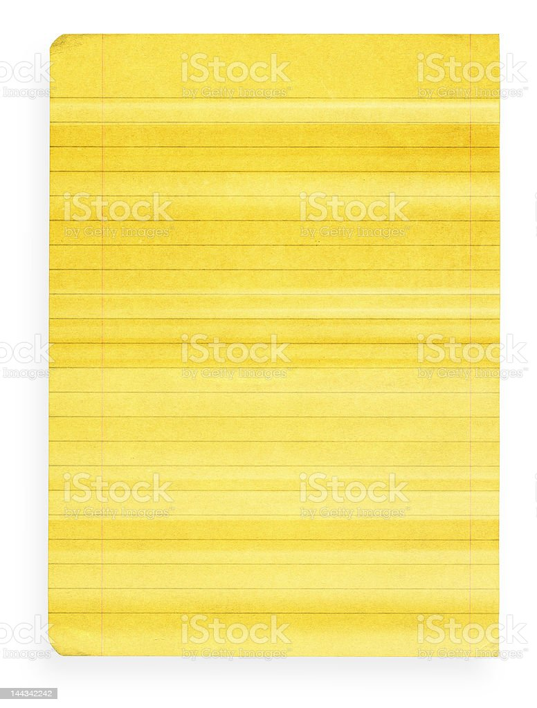 XL size yellow stained lined paper royalty-free stock photo
