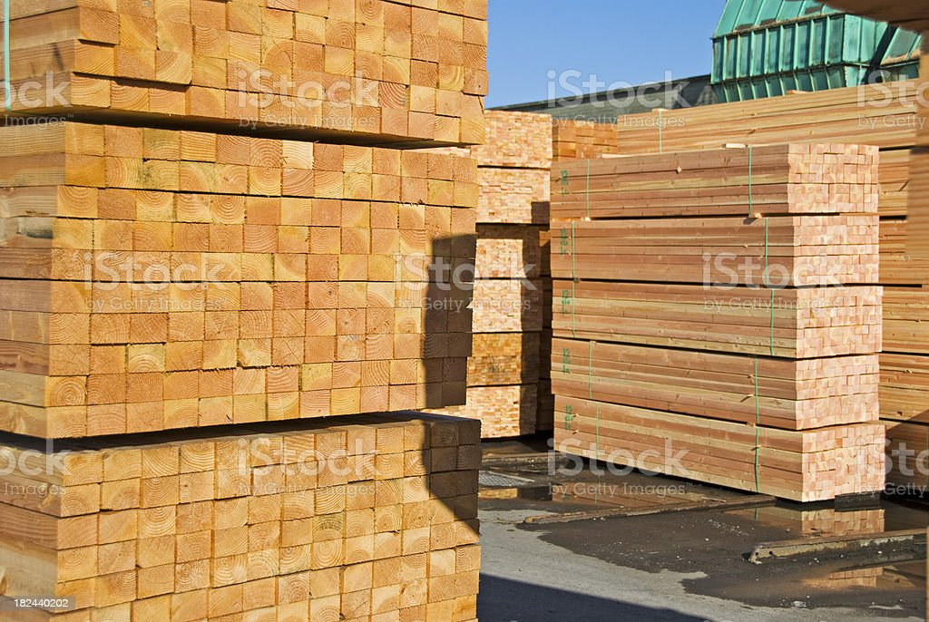 Sized lumber at redwood mill royalty-free stock photo