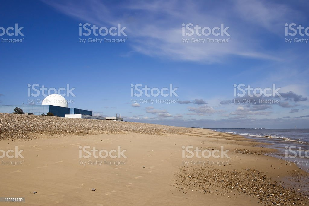 Sizewell B power station and view along beach stock photo
