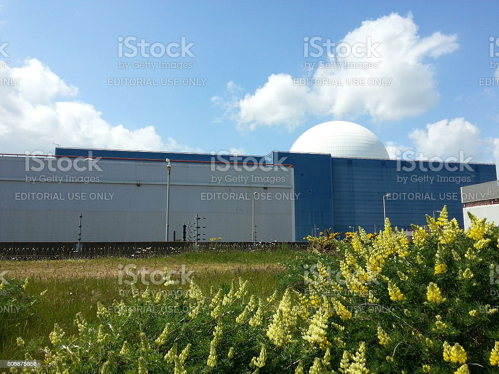 Sizewell B power station under spring skies stock photo