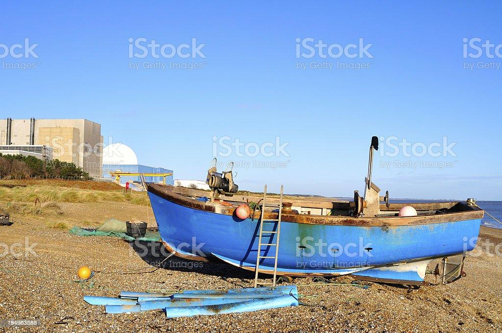 Sizewell beach boat stock photo