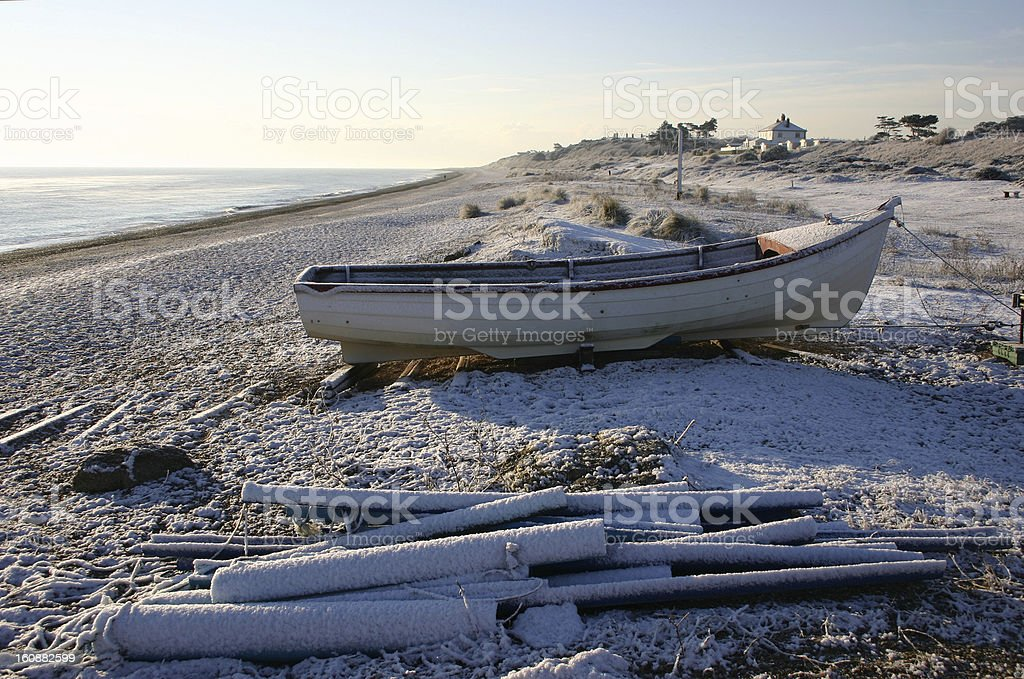 Sizewell Beach, Suffolk, England on a snowy day stock photo