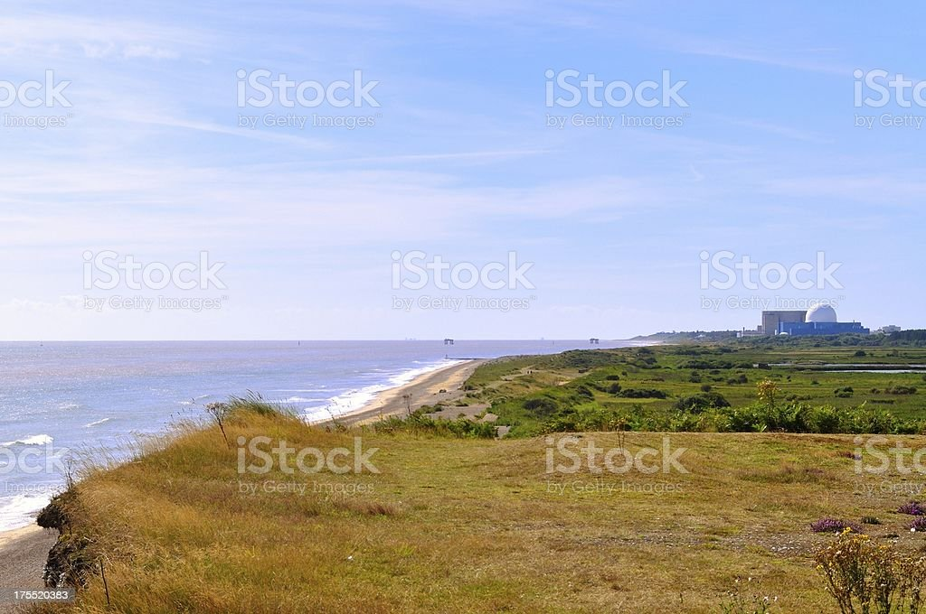 Sizewell from Dunwich Cliffs stock photo