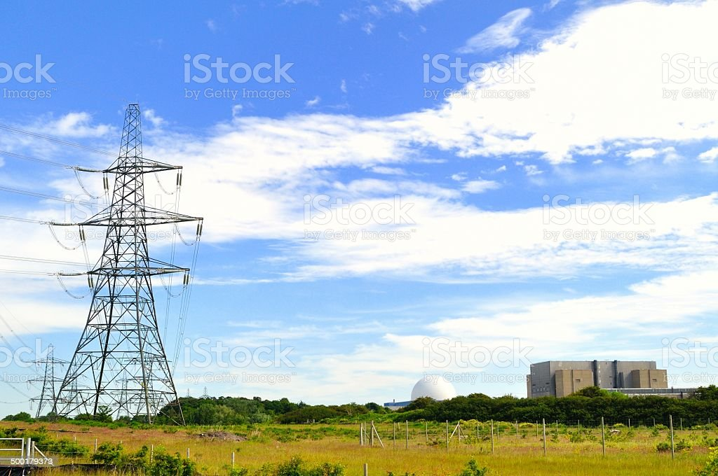 Sizewell power lines stock photo
