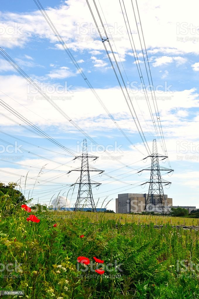 Sizewell power lines royalty-free stock photo