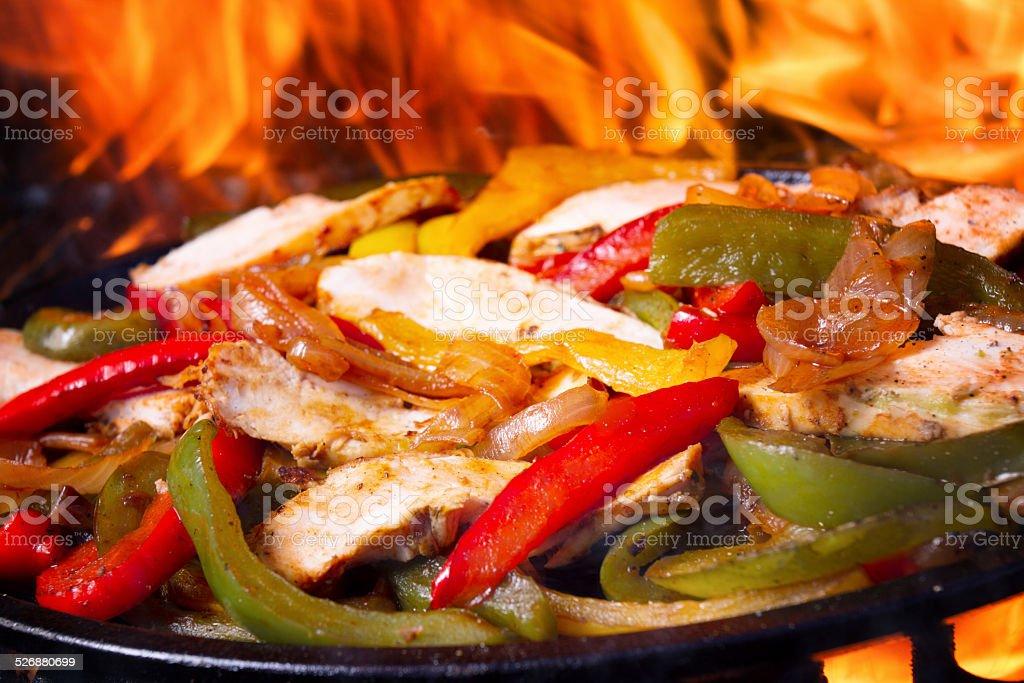 Sizzling Chicken Fajitas stock photo