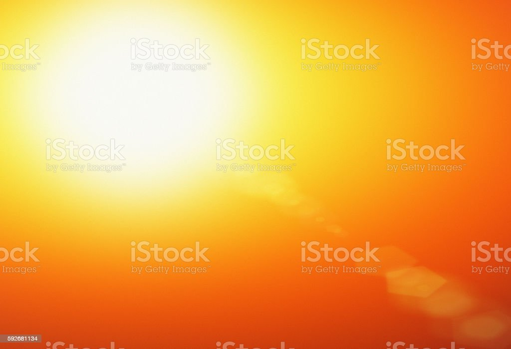 Sizzling hot golden noonday sun stock photo
