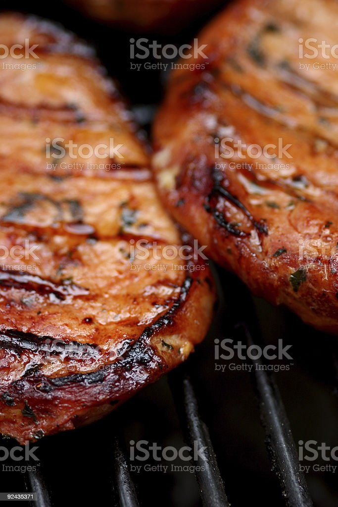 Sizzling hot meat stock photo