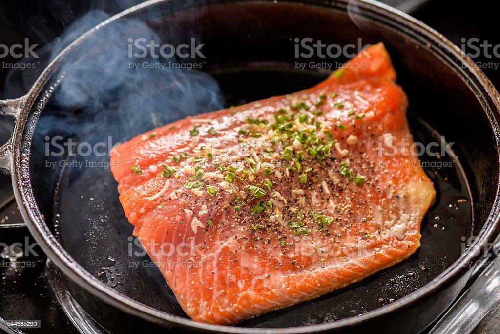 Sizzling Salmon stock photo
