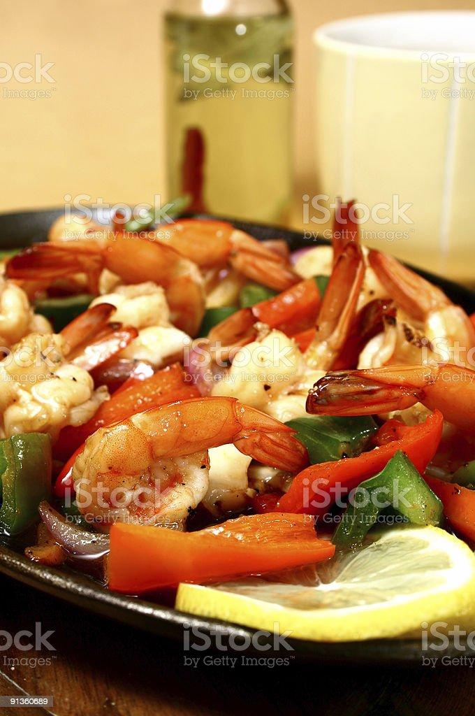 sizzling shrimp stock photo