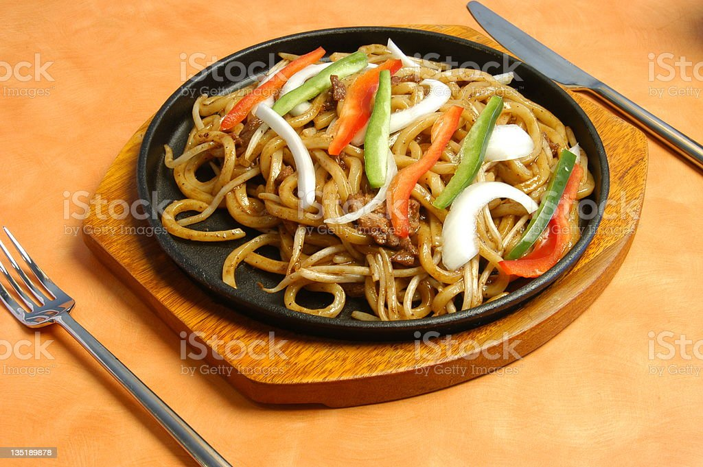 Sizzling Stir Fry Asian Noodle stock photo
