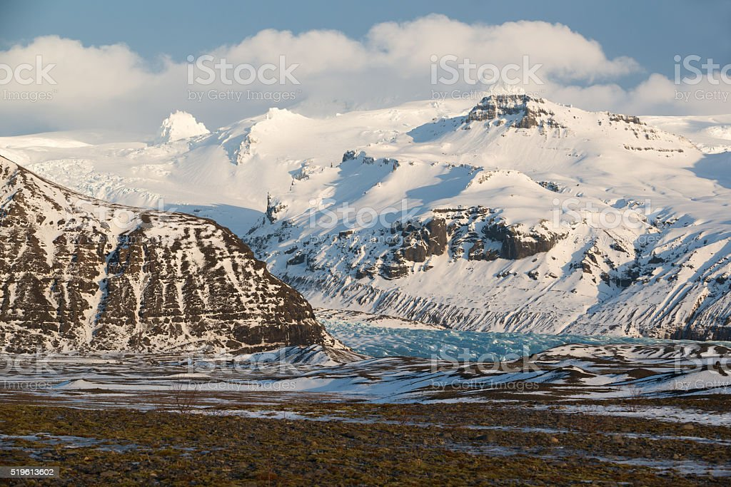 Skaftafell National park, glacier tongue winter, blue ice, Iceland stock photo