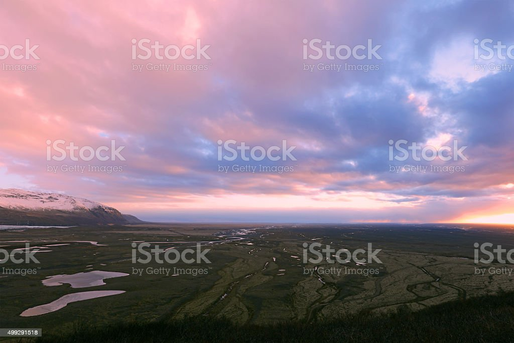Skaftafell National Park in Iceland at Sunset in Winter stock photo