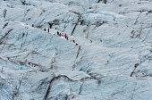 Skaftafellsjokull Glacier with Hikers, Iceland