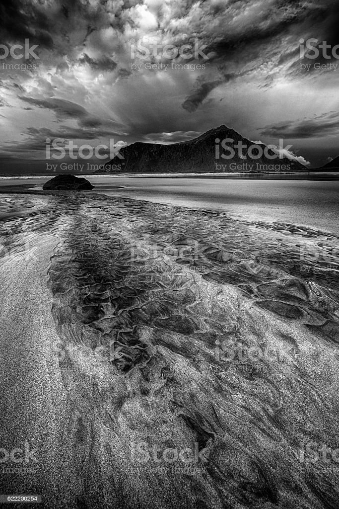 Skagsanden Beach in Lofoten, Norway stock photo