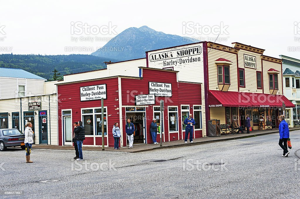 Skagway Shop with Visitors royalty-free stock photo