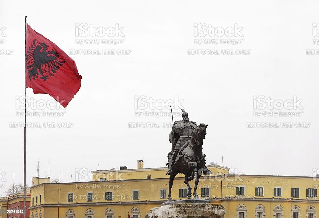 Skanderbeg Monument, Tirana, Albania stock photo