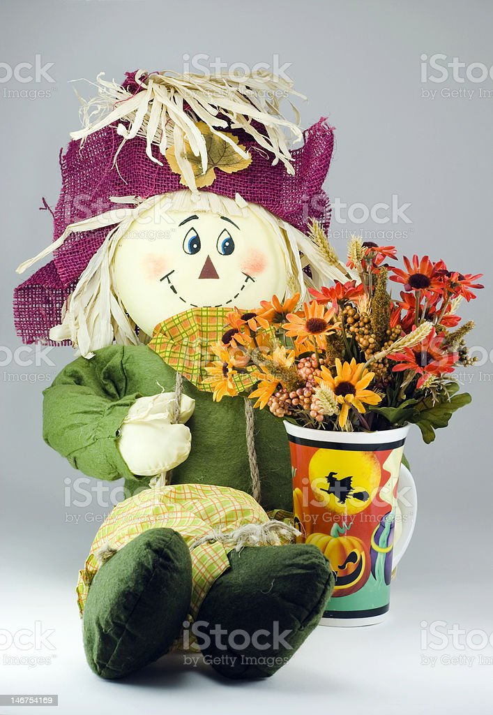 Skarecrow with flowers in a halloween cup royalty-free stock photo
