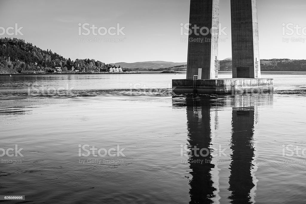 Skarnsund bridge bearing, cable-stayed bridge stock photo