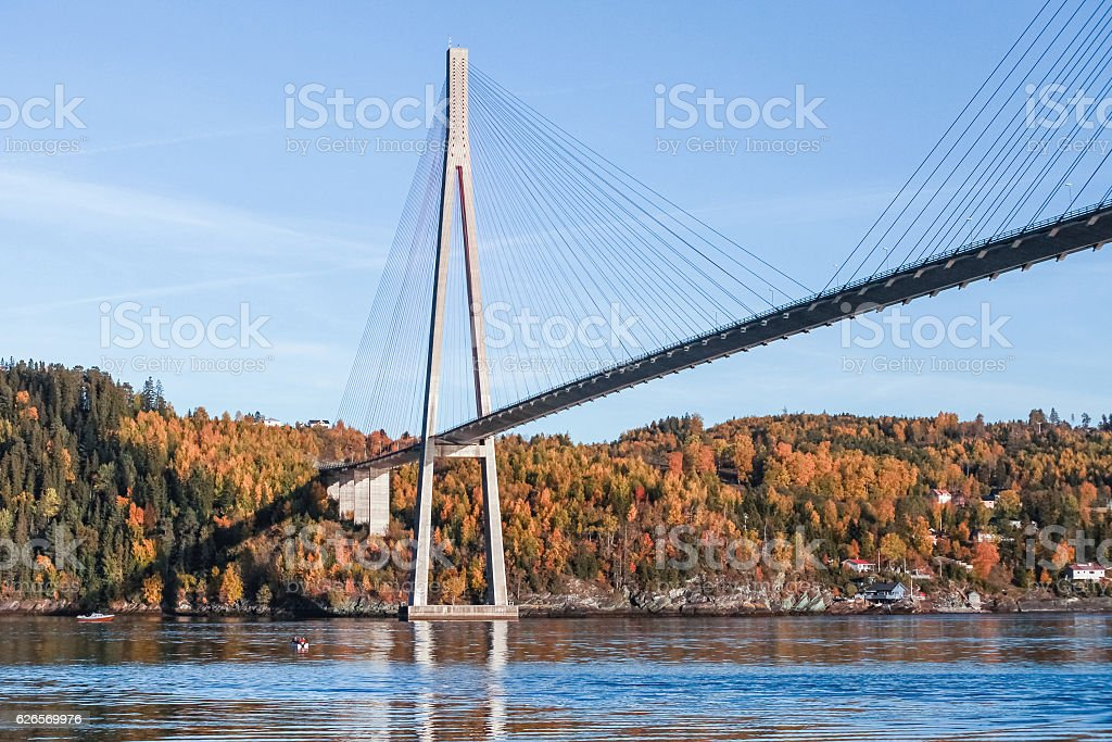 Skarnsund Bridge, concrete cable-stayed bridge stock photo