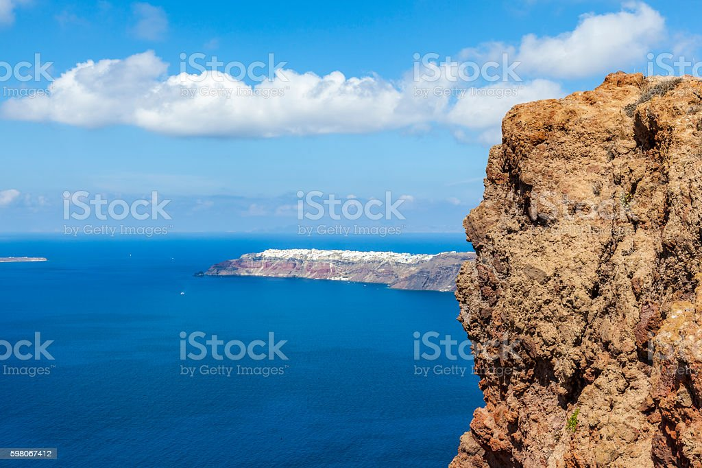 skaros rock santorini stock photo