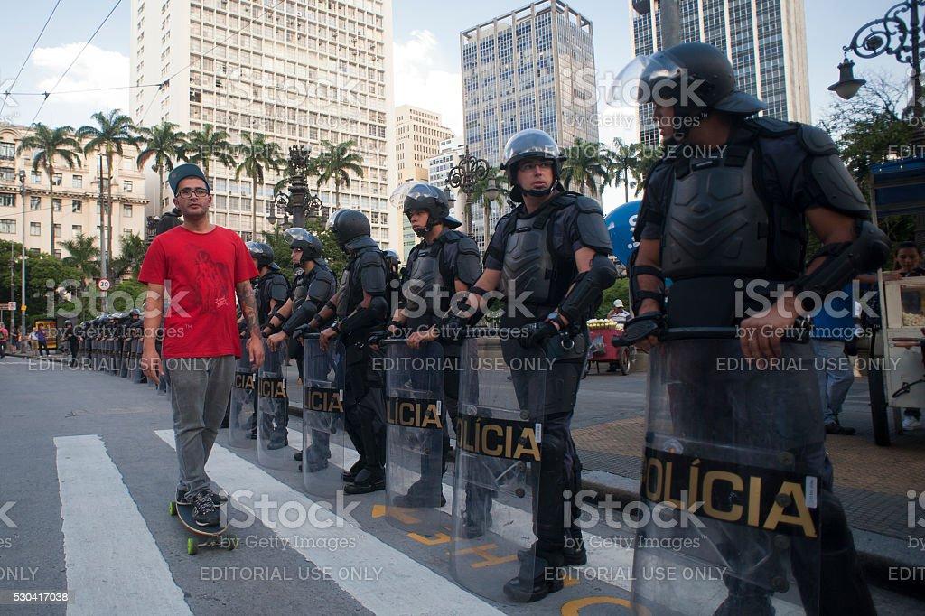 Skate and Riot Police in Brazil stock photo