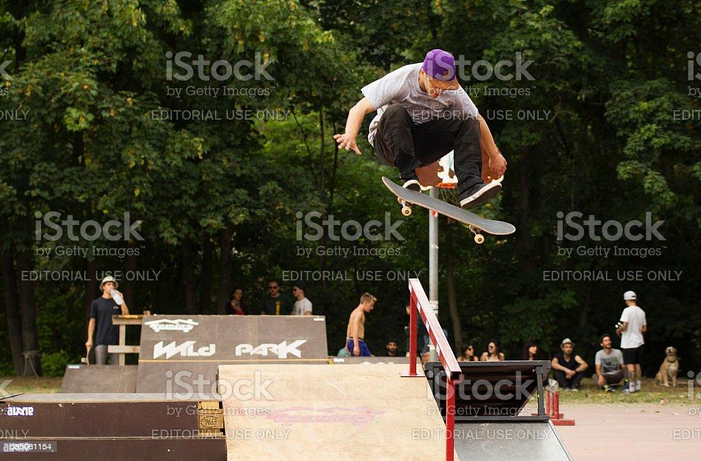 skate flip jump stock photo