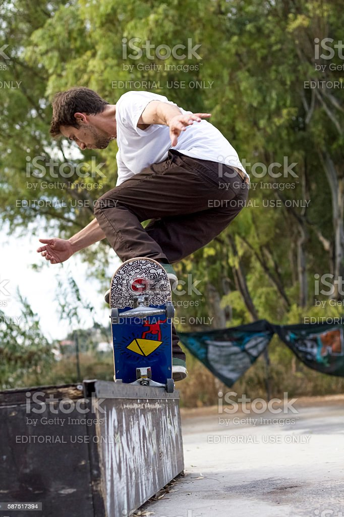 Skate nose grind stock photo