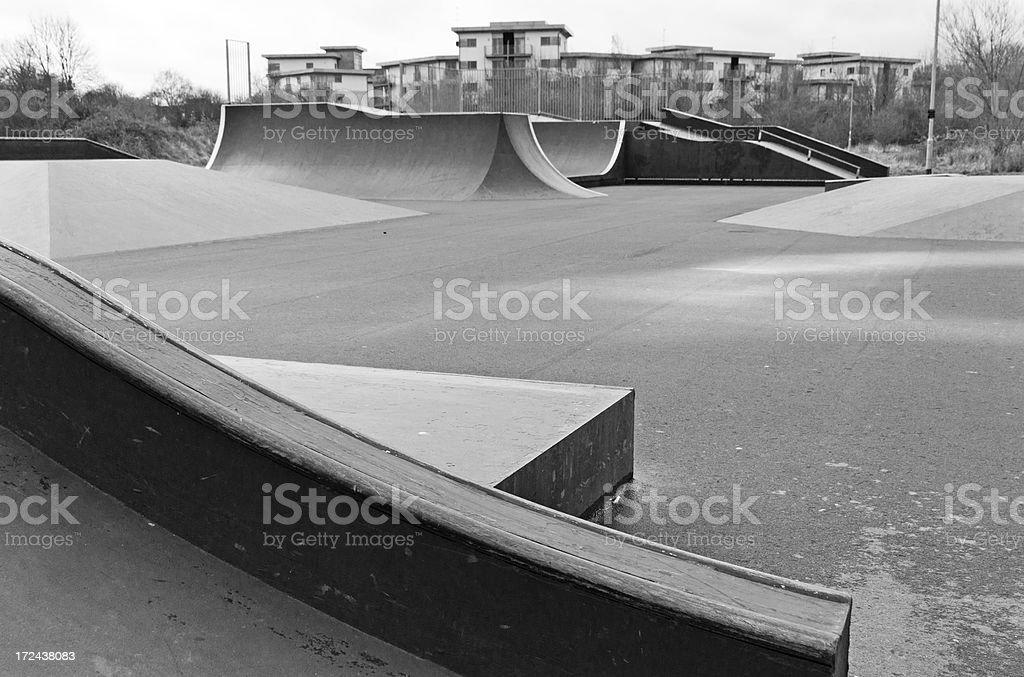 Skate park in the rain stock photo