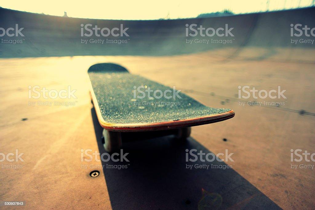 skateboard at skatepark stock photo