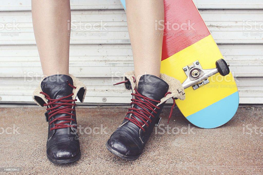 Skateboard Girl royalty-free stock photo