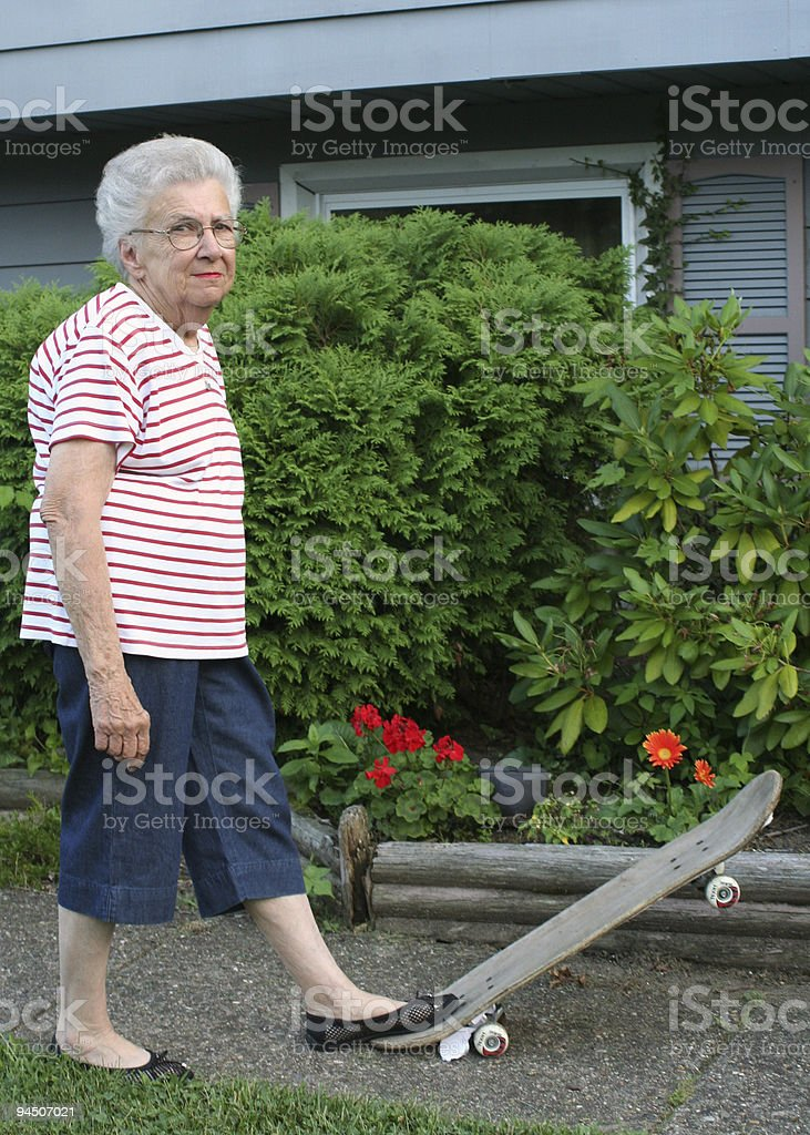 Skateboard Grandmother royalty-free stock photo