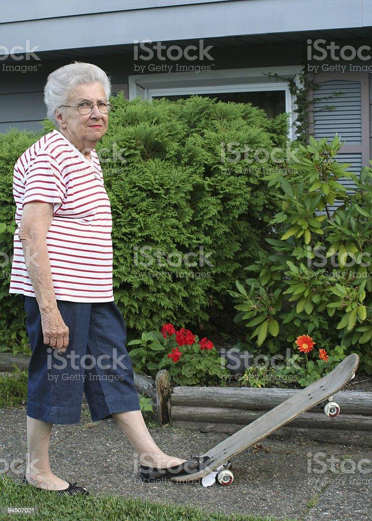 Skateboard Grandmother stock photo