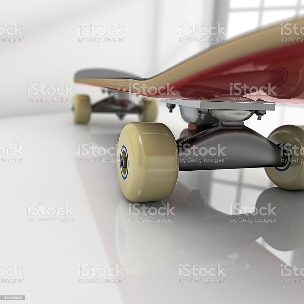 Skateboard on room stock photo
