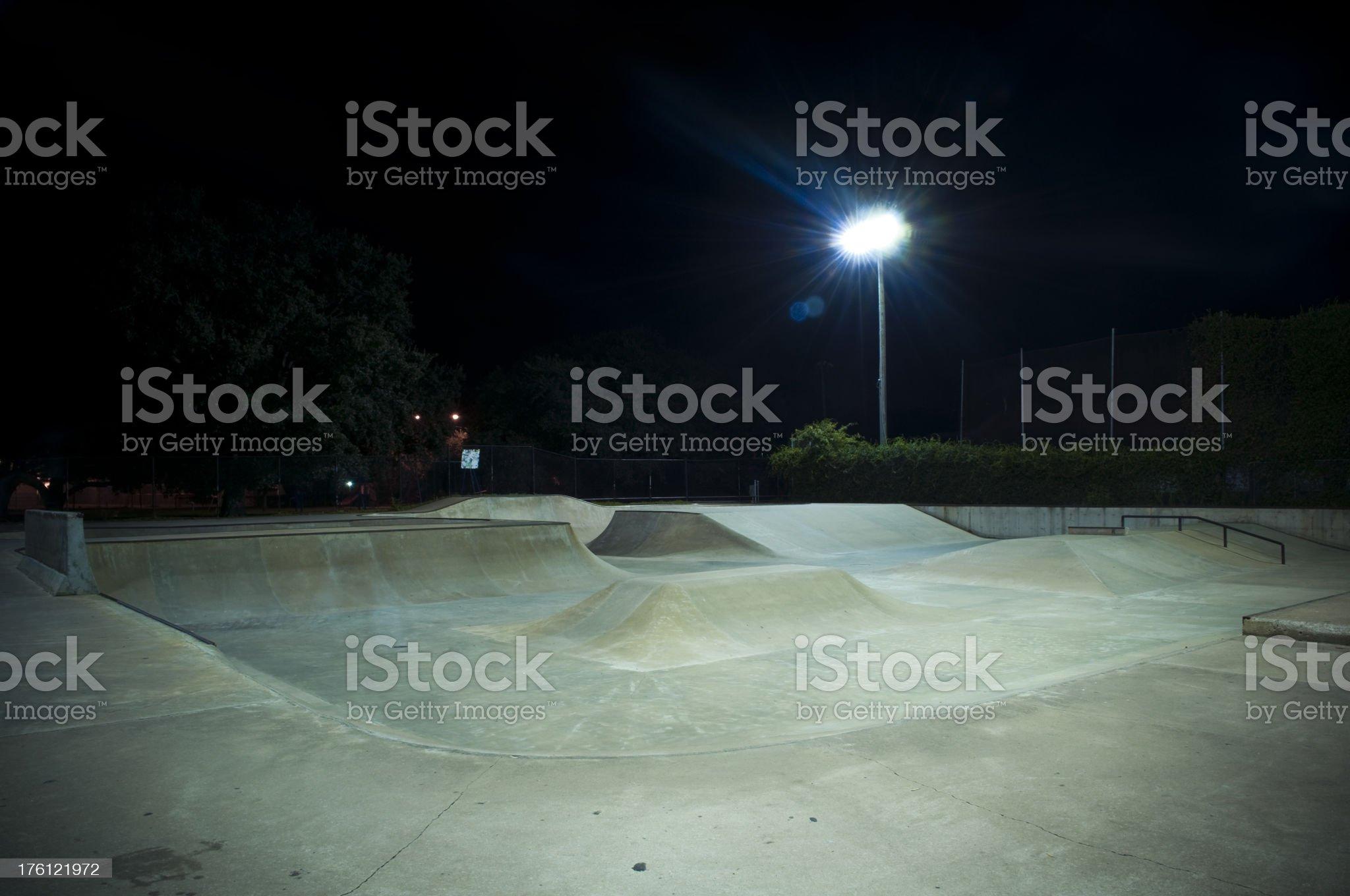 Skateboard Park at Night royalty-free stock photo
