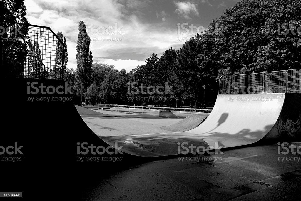 Skateboard Park Half Pipe stock photo