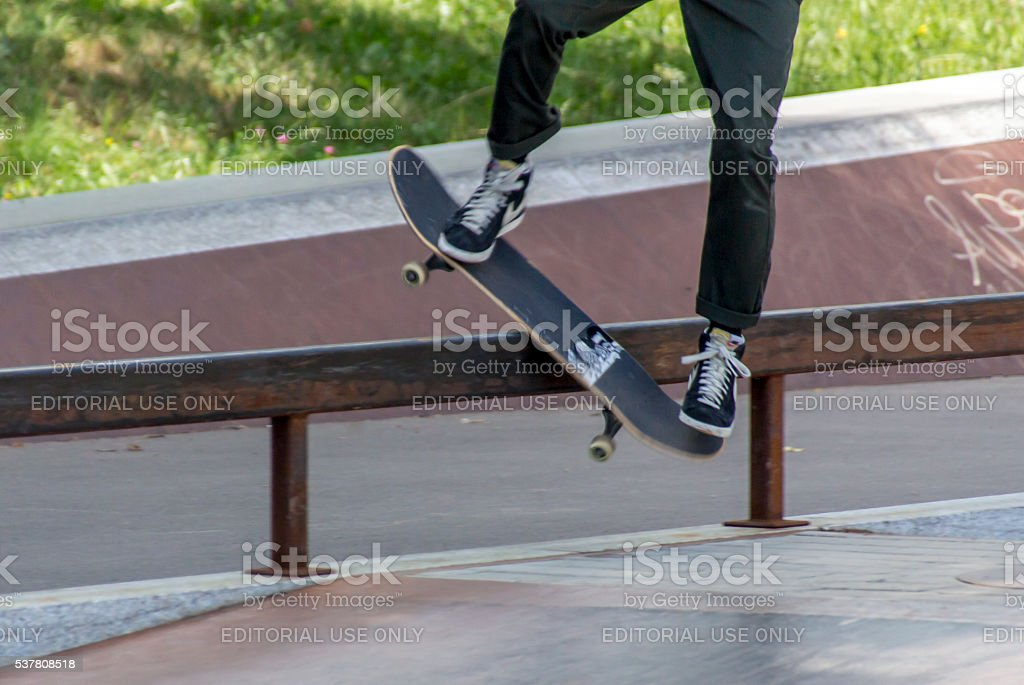 Skateboard practicing at Theresienwiese in Munich, 2015 stock photo