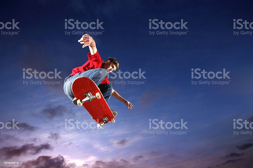 Skateboarder flying through the air royalty-free stock photo