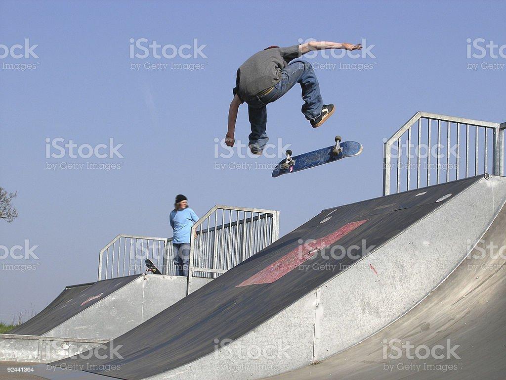 Skateboarder Frontside Flip royalty-free stock photo