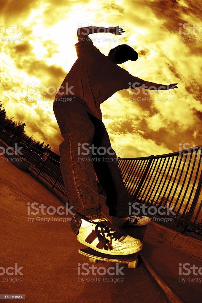 Skateboarder Frontside Grind royalty-free stock photo