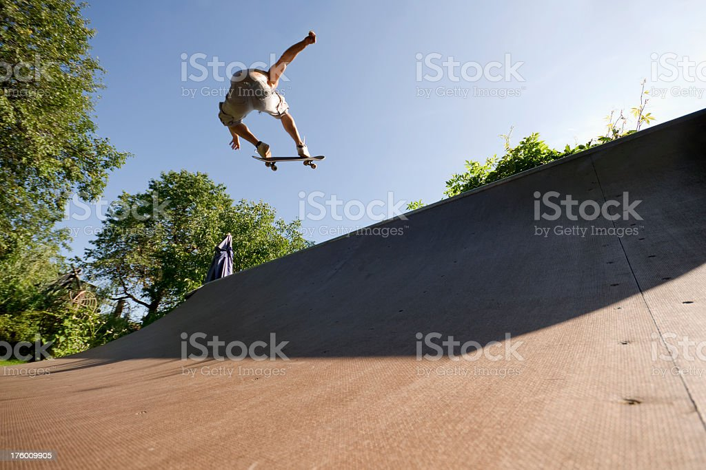 Skateboarder in Mid Air royalty-free stock photo