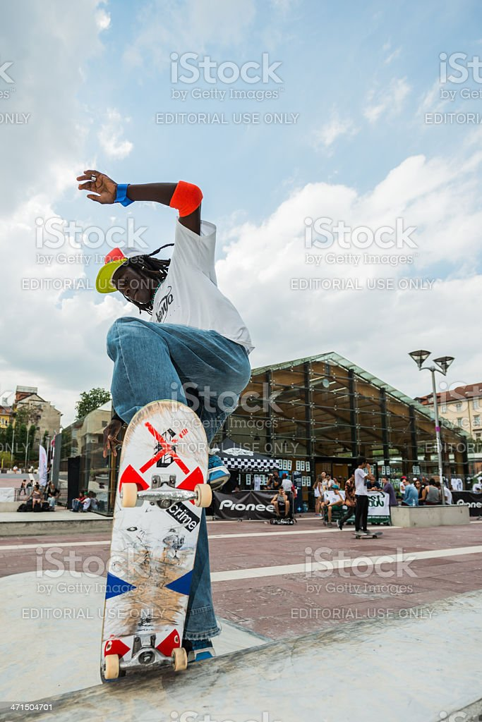 Skateboarder in Turin royalty-free stock photo