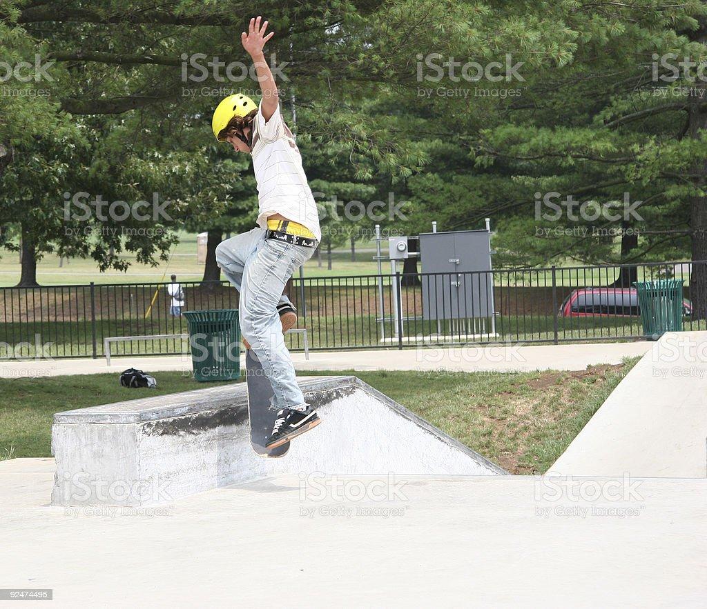 Skateboarder Jumping onto Wall (2) royalty-free stock photo
