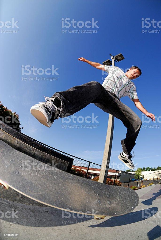 Skateboarder - Kick Flip stock photo